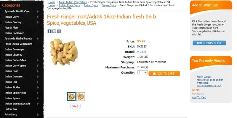 indian online grocery ginger page