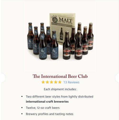 screenshot of the international beer club