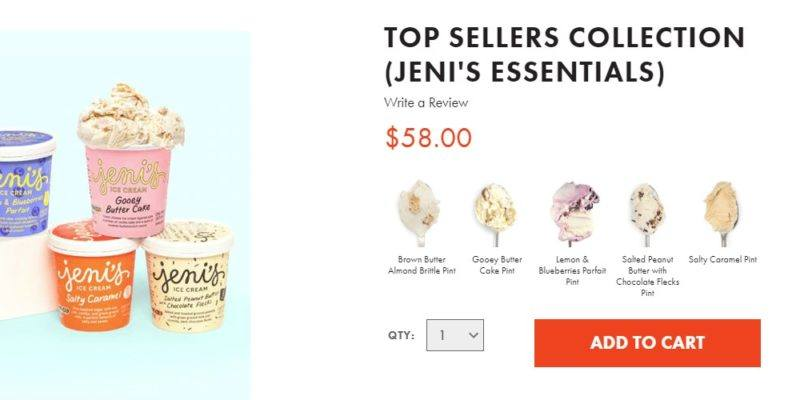 Jeni's  ice cream delivery page
