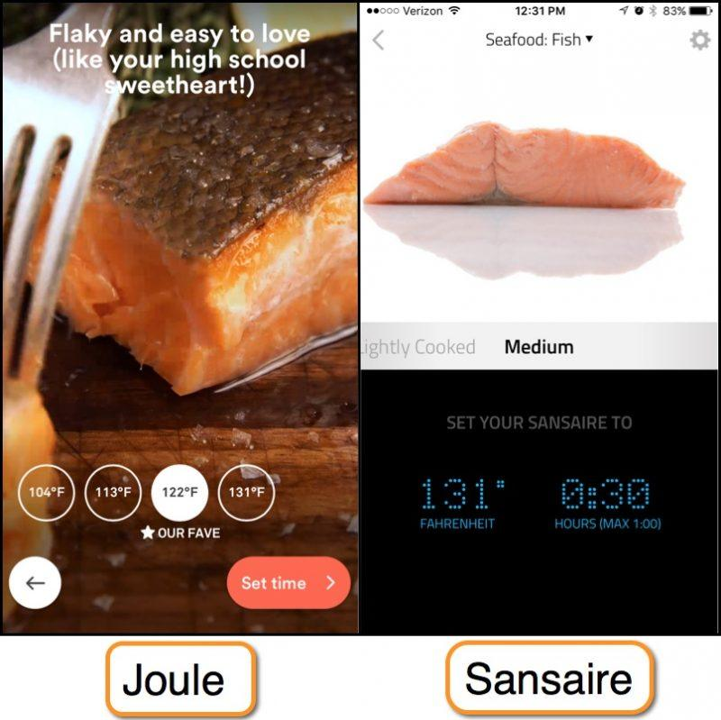 joule app vs sansaire app delicious salmon