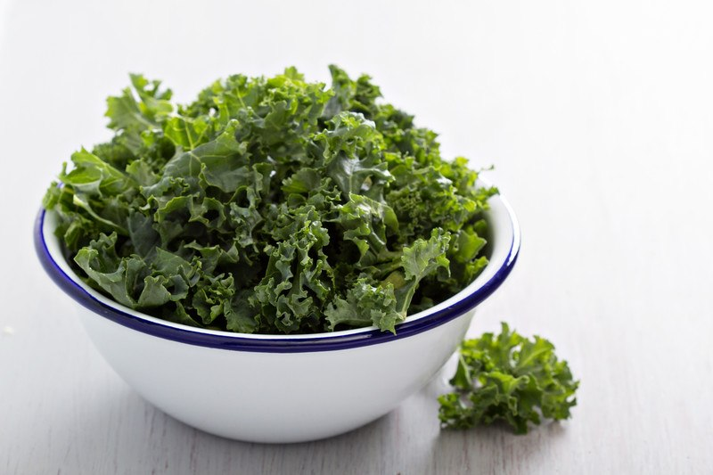 a white bowl with blue rim full of kale