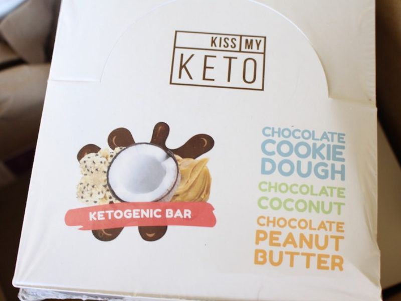 keto bars in the box. cookie dough was the best flavor!