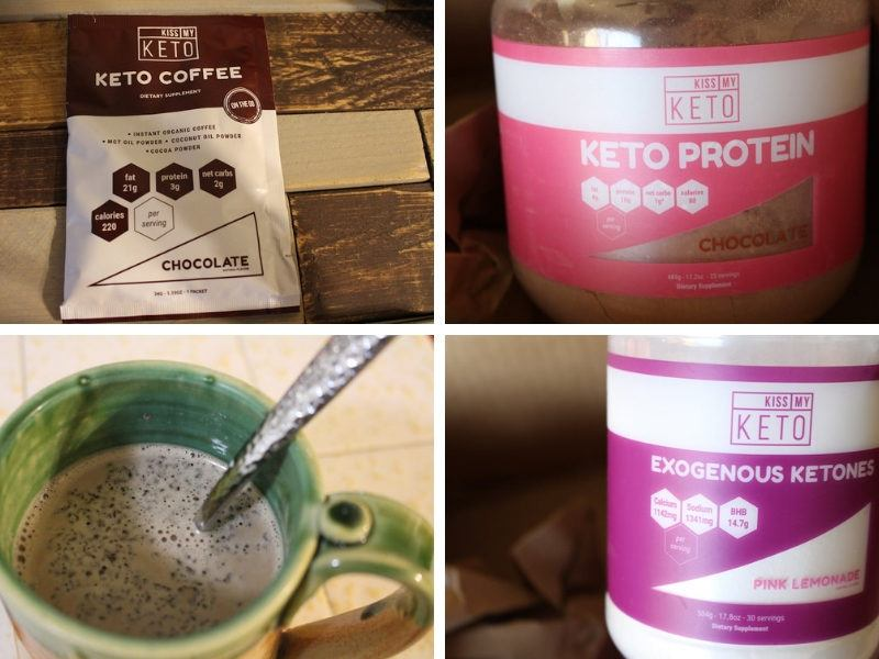 keto protein, keto coffee, and ketones featured in a grid