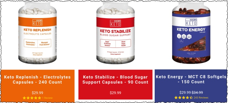 keto supplements featured on the Kiss My Keto website