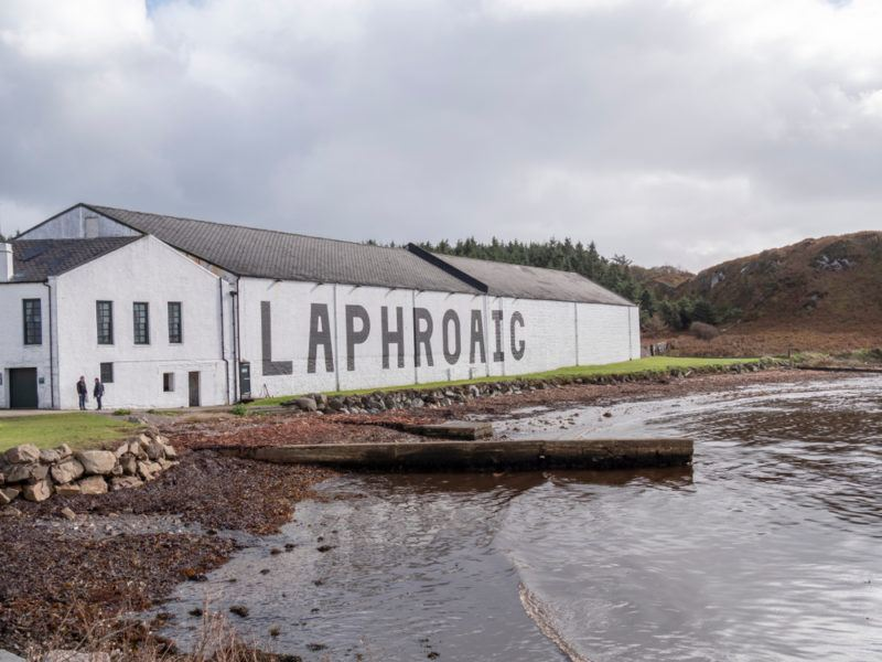 laphroaig scotch whisky distillery outside near ocean