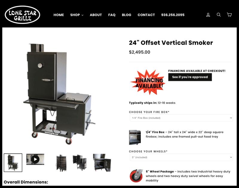 lone star grillz 24 Offset Vertical Smoker