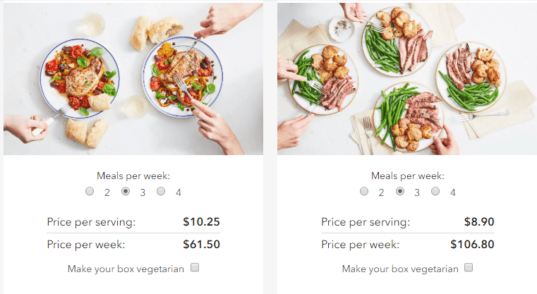This is a screenshot showing the price per serving for two servings or four servings at three meals per week for Martha and Marley Spoon.