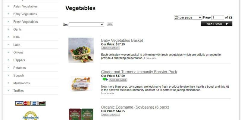 melissa's vegetable delivery page