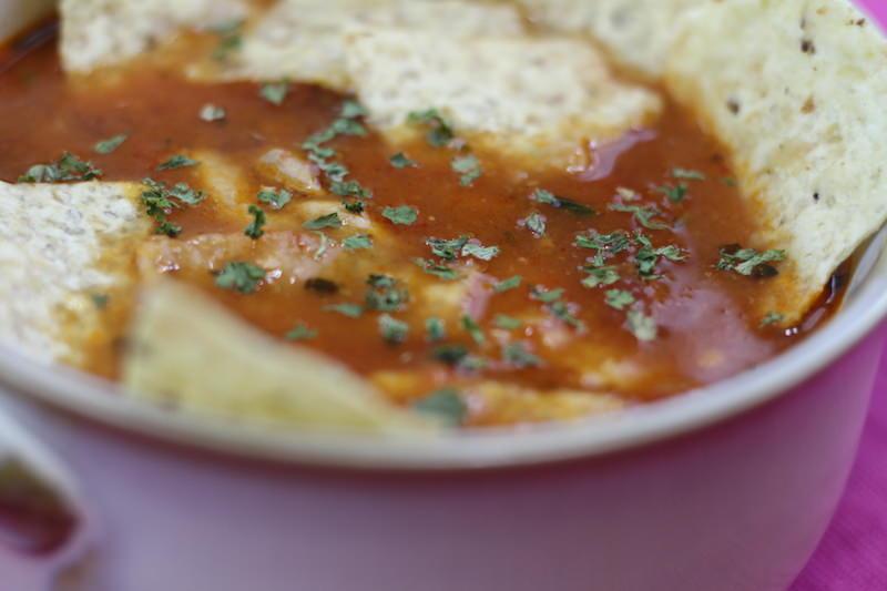 mexican chicken tortilla soup closeup