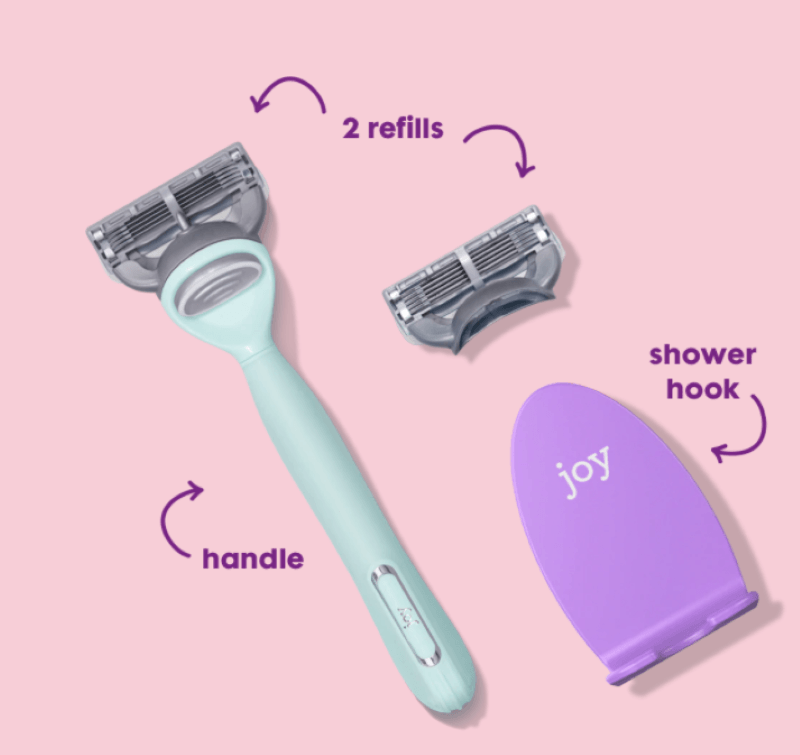 pink background with a teal handled razor reills and shower hook