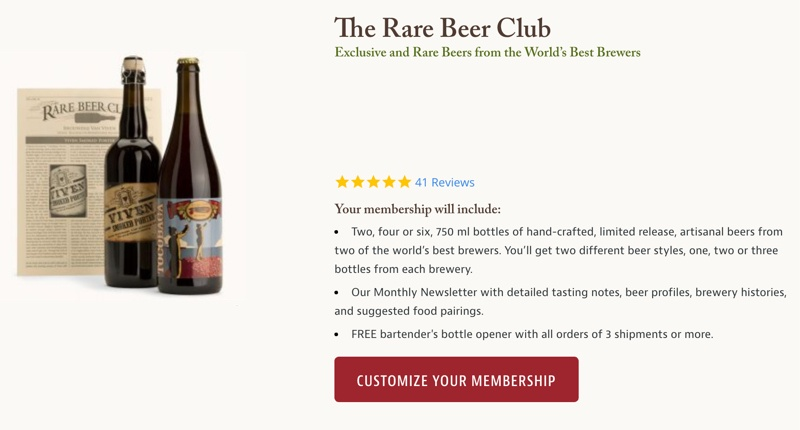 screenshot of the rare beer club signup page