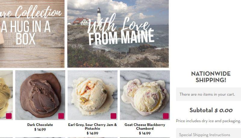 rococo  ice cream delivery page