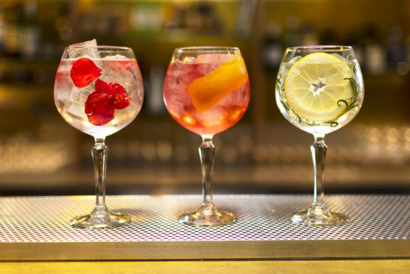 Three different gin cocktails