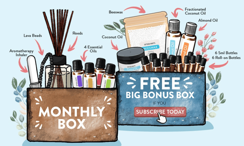 Illustration of essential oil subscription boxes.  the first box says monthly box and contains aromatherapy inhaler, lava beads, reeds, and 4 essential oils.  The box on the right says free big bonus box if you subscribe today that contains coconut oil, beeswax, fractional coconut oil, almond oil, 6 5ml bottles, and 6 roll-on bottles.