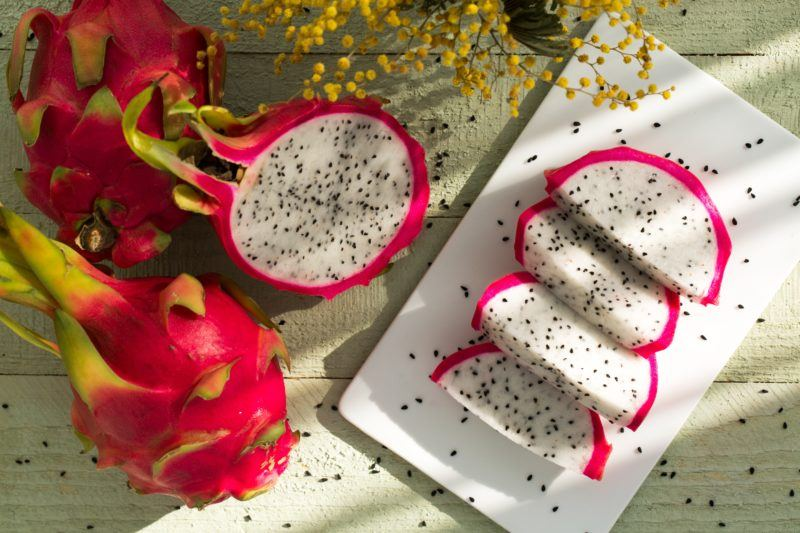 Sliced dragon fruit