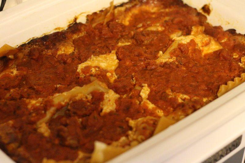 slow cooker lasagna top
