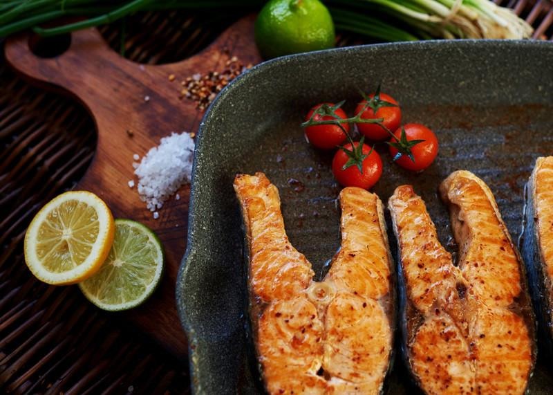 grilled salmon on indoor non-stick smokeless grill pan showing a soy-free dinner