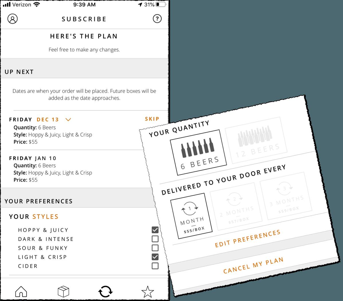 tavour beer subscription box screenshot of app