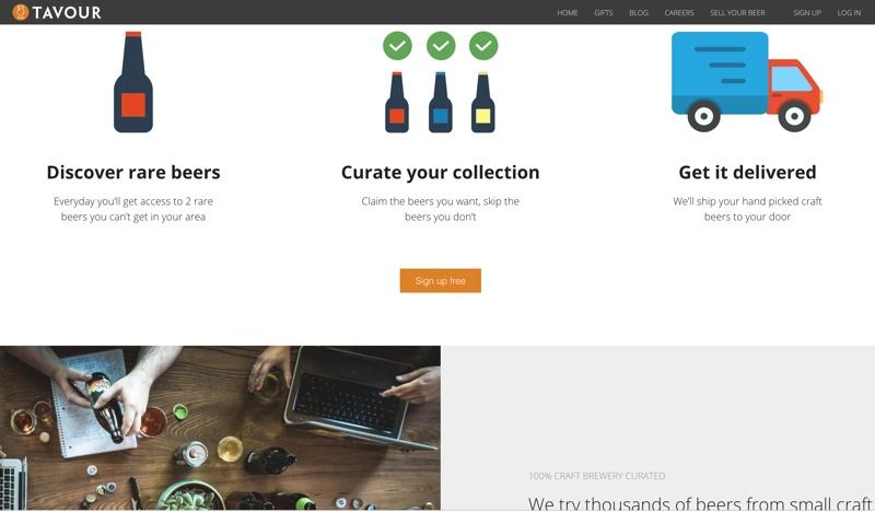 screenshot of the tavour homepage