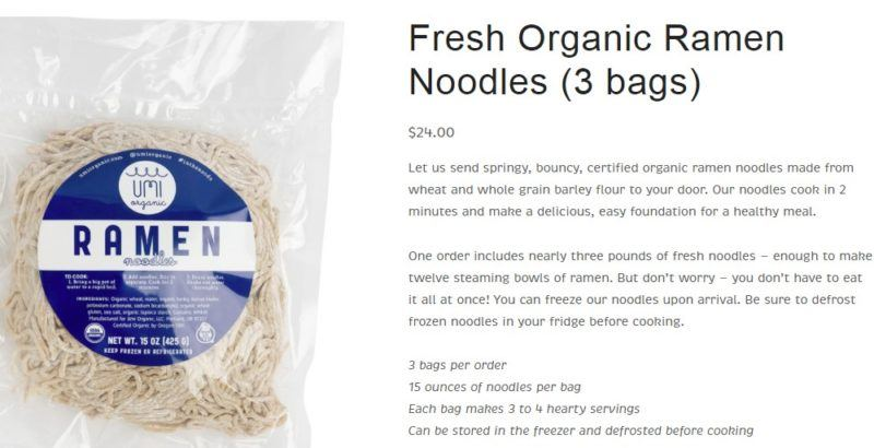 umi organic noodle page