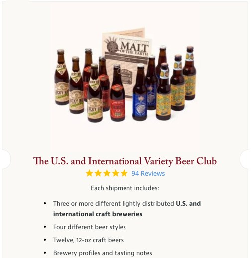 screenshot of the us and international beer club mix