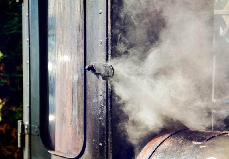vertical offset smoker billowing smoke